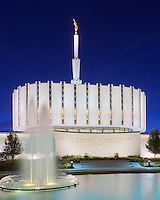 The Ogden LDS Temple at dus with the ornamental fountains