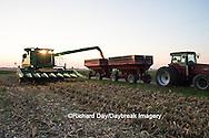 Farm, harvest, corn, sunset, Marion County, Illinois, USA, agriculture, crop, combine, grain wagon, harvester, evening