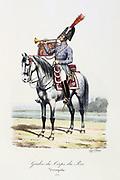 Trumpeter of the King's guard, 1814. From 'Histoire de la maison militaire du Roi de 1814 a 1830' by Eugene Titeux, Paris, 1890.