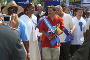 l to r: Councilman Nick Perry, Councilwoman Leticia James, Governor David Patterson, New City Comptroller Bill Thompson, Transit Workers Union President Roger Tossaint,  and Councilman John Lui at the 42nd Annual West Indian Day Carnival along Eastern Parkway on September 7, 2009 in Brooklyn, NY