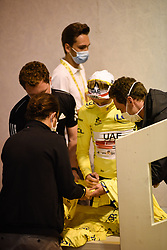 Tadej POGACAR (SLO) who secured the general individual classification yellow jersey and first place on the podium pictured signing  jerseys at the end of the final press conference after stage 20 of Tour de France cycling race, an individual time trial over 36,2 kilometers (22.5 miles) with start in Lure and finish in Planche des Belles Filles, France,Saturday, September 19, 2020.//JEEPVIDON_1555028/2009201604/Credit:jeep.vidon/SIPA/2009201605 / Sportida