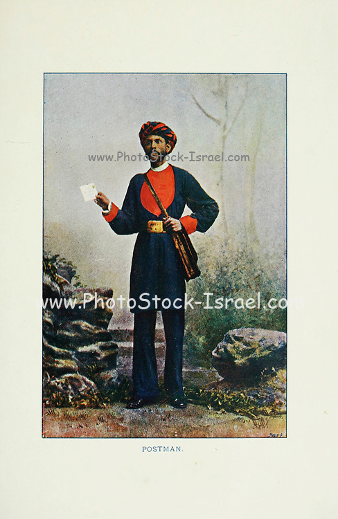 Indian Postman from Typical Pictures of Indian Natives Being reproduction from Specially prepared hand-colored photographs. By F. M. Coleman (Times of India) Seventh Edition Bombay 1902