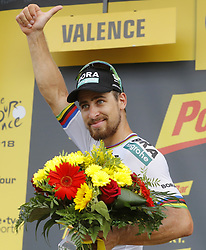 July 20, 2018 - Valence, France - VALENCE, FRANCE - JULY 20 : SAGAN Peter (SVK) of Bora - Hansgrohe pictured during the podium ceremony of  stage 13 of the 105th edition of the 2018 Tour de France cycling race, a stage of 169.5 kms between Bourg d'Oisans and Valence on July 20, 2018 in Valence, France, 20/07/2018 (Credit Image: © Panoramic via ZUMA Press)