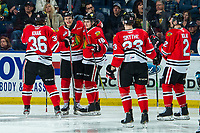 KELOWNA, BC - FEBRUARY 8: Simon Knak #36, Tyson Kozak #18, Kurtis Smythe #23, Kade Nolan #2 and Cross Hanas #71 of the Portland Winterhawks celebrate a goal against the Kelowna Rockets at Prospera Place on February 8, 2020 in Kelowna, Canada. (Photo by Marissa Baecker/Shoot the Breeze)