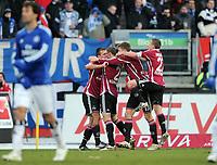 Fotball<br /> Tyskland<br /> 29.01.2011<br /> Foto: Witters/Digitalsport<br /> NORWAY ONLY<br /> <br /> Jubel 1:0 v.l. Christian Eigler, Torschuetze Timmy Simons, Jens Hegeler, Markus Mendler (Nuernberg)<br /> <br /> Bundesliga, 1. FC Nürnberg - Hamburger SV 2:0
