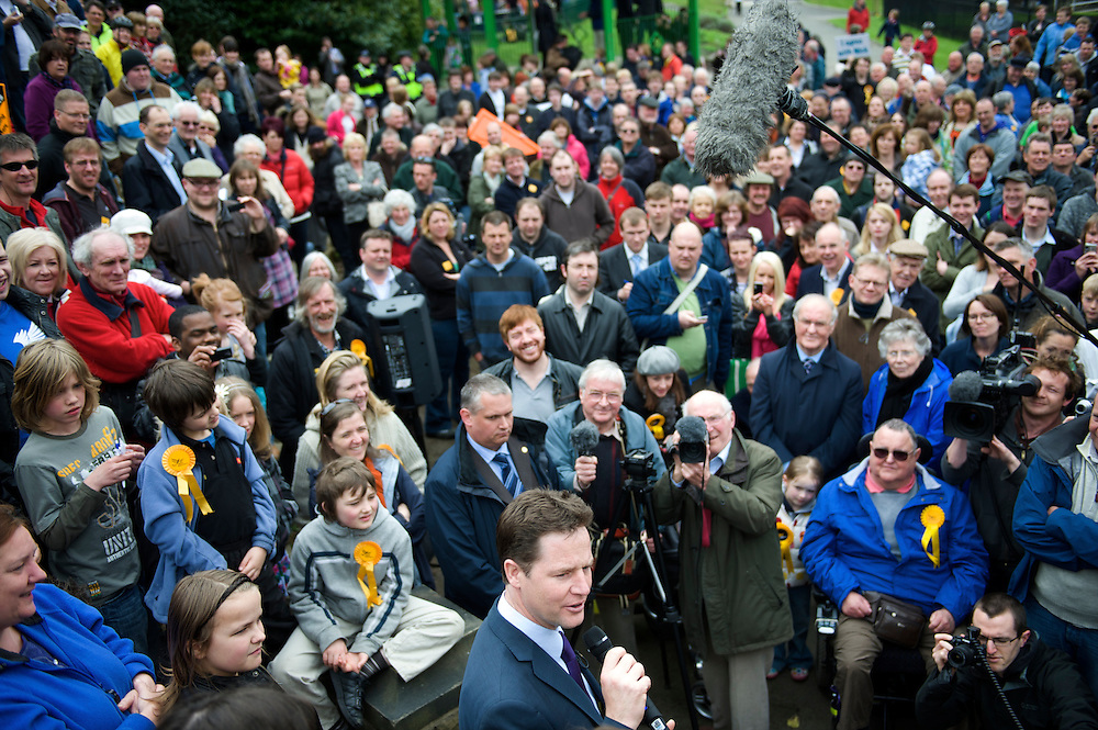 Liberal Democrat leader Nick Clegg campaigns on 2 May 2010, addressing a large crowd in Marsden, Lancashire, UK.  With the general election looming on 6 May 2010, predicted to be one of the closest and most fiercely fought in decades, candidates are campaigning at a torrid pace, holding many events throughout the UK.
