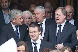 © Licensed to London News Pictures . 20/09/2014 . Manchester , UK . L-R Speaker of the House of Commons John Bercow , Deputy Speaker of the House of Commons Lindsay Hoyle , John Prescott . Departures at the funeral of Heywood and Middleton MP Jim Dobbin at Salford Cathedral today (Saturday 20th September 2014) . Photo credit : Joel Goodman/LNP