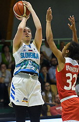 Annmaria Prezelj shoots during friendly basketball match between Women teams of Slovenia and Czech Republic before EuroBasket Serbia 2019, on May 31st, 2019 in Arena Tri Lilije, Lasko, Slovenia. Photo by Milos Vujinovic / Sportida