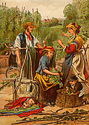 Gathering hops. Families from the poor districts of London, England, would travel by train to the Kentish hopfields to spend a working holiday.  In many instances the employers provided hutted accommodation for the families. Chromolithograph c1870.