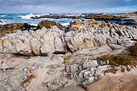 United States, California, Monterey. Asilomar State Beach with it's rocky coast on the Monterey Peninsula.
