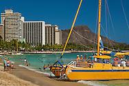 Tourist catamaran boat, Waikiki Beach, Honolulu, Oahu, Hawaii
