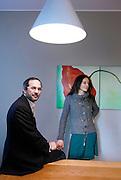 Milano , il candidato della sinistra  alle regionali in Lombardia Umberto Ambrosoli con la moglie Alessandra Bersino