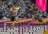 Athletics - 2017 IAAF London World Athletics Championships - Day Eight, Evening Session<br /> <br /> Womens 100m Hurdles Semi final<br /> <br /> Ricarda Lobe (Gerrmany) rises over the hurdles at the London Stadium<br /> <br /> COLORSPORT/DANIEL BEARHAM