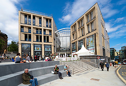 Edinburgh, Scotland, UK. 24 June 2021. First images of the new St James Quarter which opened this morning in Edinburgh. The large retail and residential complex replaced the St James Centre which occupied the site for many years. Pic; Members of the  public at entrance to mall on Leith Street .Iain Masterton/Alamy Live News
