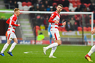 Ben Whiteman of Doncaster Rovers (8) shows thumbs up after scoring to make it 1-0 during the EFL Sky Bet League 1 match between Doncaster Rovers and Scunthorpe United at the Keepmoat Stadium, Doncaster, England on 15 December 2018.