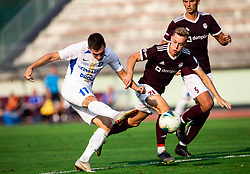 Žan Rogelj of Triglav (R) vs Luka Kerin of Celje during football match between NK Triglav and NK Celje in 7th Round of Prva liga Telekom Slovenije 2019/20, on August 25, 2019 in Sports park, Kranj, Slovenia. Photo by Vid Ponikvar / Sportida