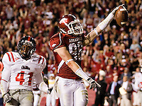 FAYETTEVILLE, AR - OCTOBER 25:   Lucas Miller #88 of the Arkansas Razorbacks celebrates after catching a pass for a touchdown against the Ole Miss Rebels at Donald W. Reynolds Stadium on October 25, 2008 in Fayetteville, Arkansas.  The Rebels defeated the Razorbacks 23 to 21.  (Photo by Wesley Hitt/Getty Images) *** Local Caption *** Lucas MillerUniversity of Arkansas Razorback Men's and Women's athletes action photos during the 2008-2009 season in Fayetteville, Arkansas....©Wesley Hitt.All Rights Reserved.501-258-0920.