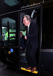 Cardiff City manager Neil Warnock arrives on the team coach for the Premier League match at Vicarage Road, Watford.