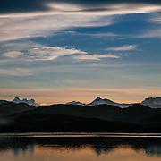 Laguna Reflections Chile, Magallanes Region, Torres del Paine National Park, Lago Pehoe, landscape, sunset.