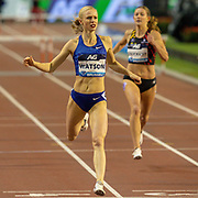 Sage Watson (Canada) winning the Women's 400m Hurdles during the IAAF Diamond League event at the King Baudouin Stadium, Brussels, Belgium on 6 September 2019.