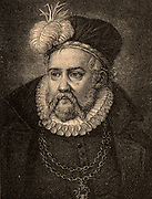 Tycho Brahe (Tyge Ottesen Brahe - 1546-1601) Danish astronomer, astrologer and alchemist who built astronomical instruments which enabled him to make the most accurate observations of his time. His system of the universe (Tychonic system) was a mixture of the Ptolemaic and Copernican systems.  Engraving after an unknown artist.