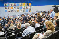 BENTONVILLE, AR - JULY 7:  Small product manufactures in the auditorium before and after their presentations at the Walmart Head Quarters in Bentonville, Arkansas.<br /> Wesley Hitt for the Wall Street Journal