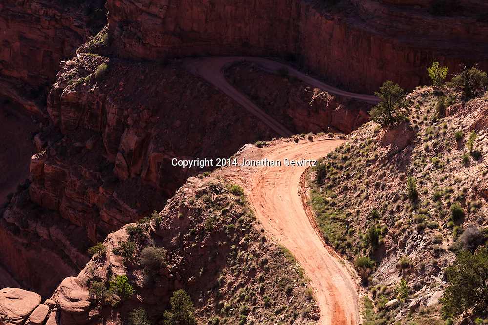 Looking down on a steep part of the Shafer Trail in Canyonlands National Park, Utah. WATERMARKS WILL NOT APPEAR ON PRINTS OR LICENSED IMAGES.