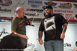 Custom builder Kevin Taco Rodriguez of Daytona Beach, FL speaking about his Panhead on display at the Old Iron - Young Blood exhibition media and industry reception in the Motorcycles as Art gallery at the Buffalo Chip during the annual Sturgis Black Hills Motorcycle Rally. Sturgis, SD. USA. Sunday August 6, 2017. Photography ©2017 Michael Lichter.