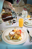 French Toast for breakfast in the Britannia Club on board Cunard's Queen Victoria.<br /> Picture date: Sunday June 4, 2017.<br /> Photograph by Christopher Ison ©<br /> 07544044177<br /> chris@christopherison.com<br /> www.christopherison.com