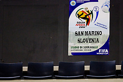 Transparent at the last 2010 FIFA World Cup South Africa Qualifying match in Group 3 between San Marino and Slovenia, on October 14, 2009, in Olimpico Stadium, Serravalle, San Marino. Slovenia won 3:0. (Photo by Vid Ponikvar / Sportida)