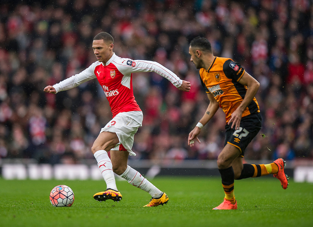 Arsenal's Kieran Gibbs holds off the challenge from Hull City's Ahmed Elmohamady<br /> <br /> Photographer Ashley Western/CameraSport<br /> <br /> Football - The FA Cup Fifth Round - Arsenal v Hull City - Saturday 20th February 2016 - Emirates Stadium - London<br /> <br /> © CameraSport - 43 Linden Ave. Countesthorpe. Leicester. England. LE8 5PG - Tel: +44 (0) 116 277 4147 - admin@camerasport.com - www.camerasport.com