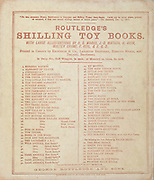 Advertising Routledge's Shilling Toy Books with large illustrations on the back cover of ' Beauty and the beast ' by Walter Crane, Edmund Evans, Published in London & New York by George Routledge and Sons in 1874.