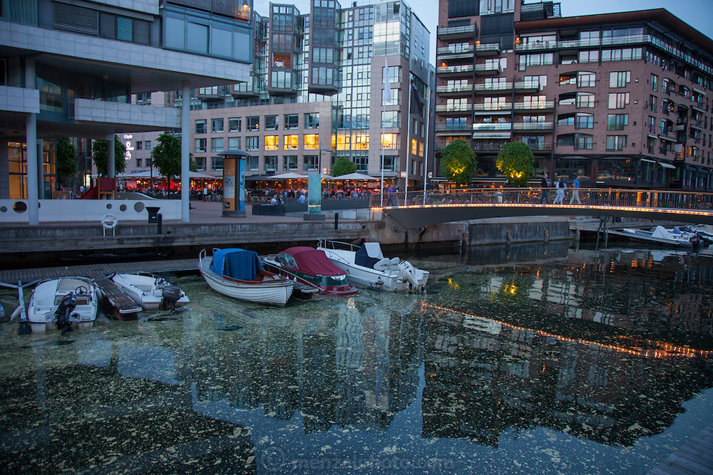 Aker Brygge, by the harbor in Oslo, Norway. 11 PM on a summer night.