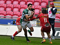 Rugby Union - 2020 / 2021 Guinness PRO14 - Round 12 - Scarlets vs Benetton - Parc-y-Scarlets<br /> <br /> <br /> Leonardo Sarto of Benetton scores a try <br /> COLORSPORTWINSTON BYNORTH