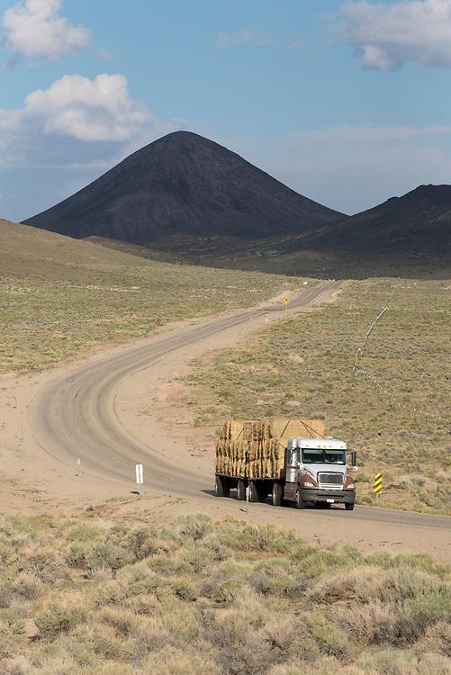 Truck with hay below Saulsbury Summit on Highway 6 in Nevada.