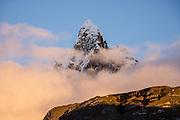 Sunrise at Nevado Jirishanca (Icy Beak of the Hummingbird, 6126 m or 20,098 feet) in the Andes Mountains, Peru, South America. Day 3 of 9 days trekking around the Cordillera Huayhuash.