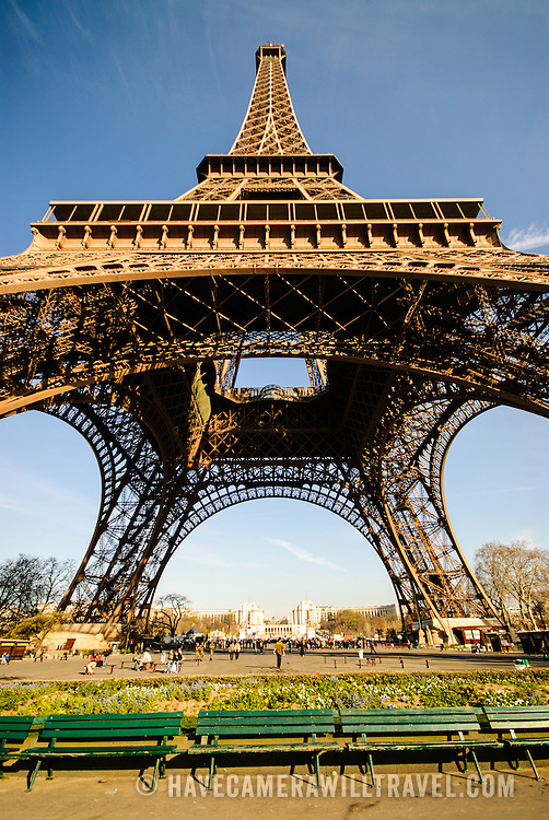 Eiffel Tower on a sunny day with clear blue sky