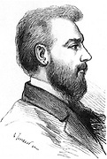 Alexander Graham Bell (1847-1922), Scottish born American inventor. Bell took out a patent for his telephone in 1876. From 'Les Nouvelles Conquetes de la Science', Louis Figuier, (Paris, 1883). Engraving.
