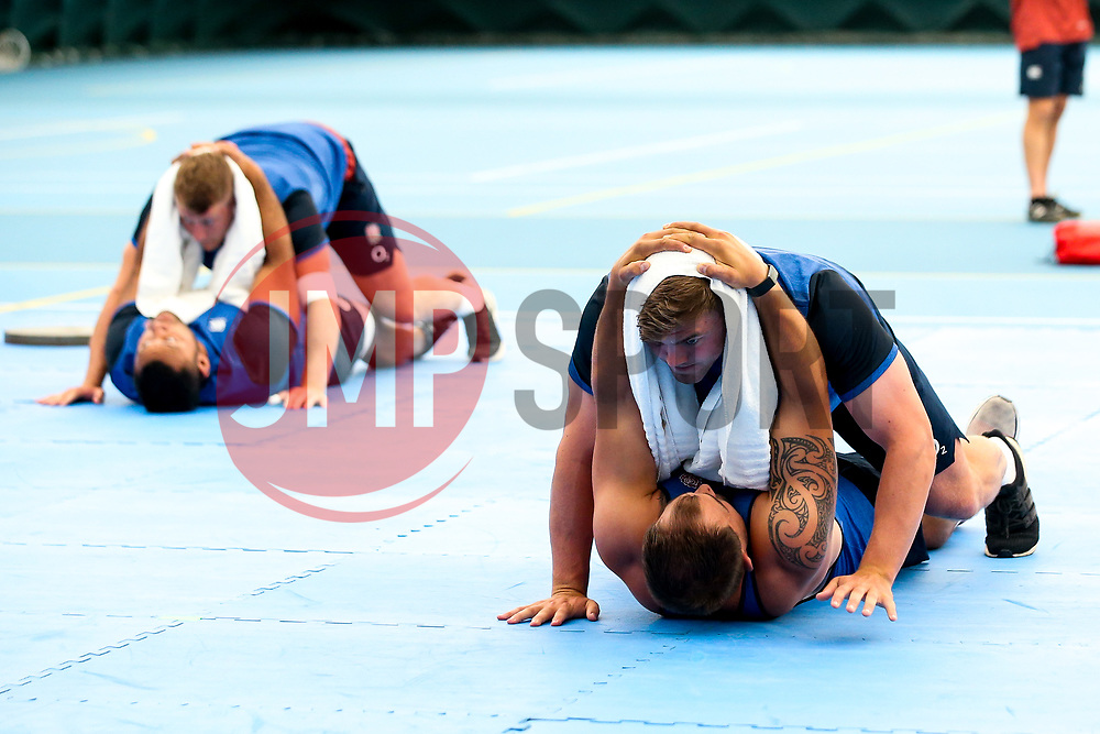 Jack Singleton and Ben Moon of England trains in the gym at Clifton College - Mandatory by-line: Robbie Stephenson/JMP - 15/07/2019 - RUGBY - England - England training session ahead of Rugby World Cup