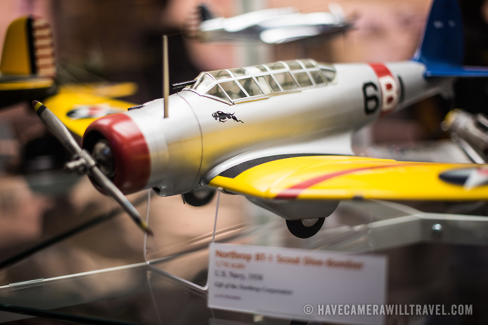 Scale model airplanes on display at the Smithsonian National Air and Space Museum's Udvar-Hazy Center. Located near Dulles Airport, the Udvar-Hazy Center is the second public facility of the Smithsonian's National Air and Space Museum. Housed in a large hangar are a multitude of planes, helicopter, rockets, and space vehicles.