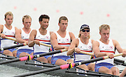 St Catharines, Ontario, CANADA 1999 World Rowing Championships. GBR M8+ left to right,  Fred SCARLETT, Louis ATTRILL, Luka GRUBOR, Kieran WEST, Tim FOSTER, Steve TRAPMORE. [Mandatory Credit Peter Spurrier Intersport Images] 1999 FISA. World Rowing Championships, St Catherines, CANADA