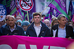 """© Licensed to London News Pictures . 29/09/2013 . Manchester , UK . ANDY BURNHAM , MP for Leigh and Shadow Secretary of State for Health at the front of the march . A Unison lead demonstration titled """" Save our NHS """" through Manchester City Centre today (Sunday 29th September 2013) coinciding with the Conservative Party Conference in the city . Photo credit : Joel Goodman/LNP"""