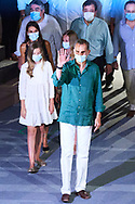 King Felipe VI of Spain, Queen Letizia of Spain, Crown Princess Leonor, Princess Sofia attend the opening of the 66th edition of the Merida International Classical Theater Festival. Representation of 'Antígona' at Roman Theatre on July 22, 2020 in Merida, Spain