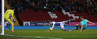 Derby County's Alex Pearce fouls Blackburn Rovers' Sam Gallagher to concede a penalty<br /> <br /> Photographer Stephen White/CameraSport<br /> <br /> The EFL Sky Bet Championship - Blackburn Rovers v Derby County - Tuesday 28th February 2017 - Ewood Park - Blackburn<br /> <br /> World Copyright © 2017 CameraSport. All rights reserved. 43 Linden Ave. Countesthorpe. Leicester. England. LE8 5PG - Tel: +44 (0) 116 277 4147 - admin@camerasport.com - www.camerasport.com