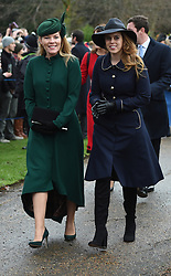 Autumn Phillips and Princess Beatrice arriving to attend the Christmas Day morning church service at St Mary Magdalene Church in Sandringham, Norfolk.