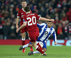 March 6, 2018 - Liverpool, U.S. - 6th March 2018, Anfield, Liverpool, England; UEFA Champions League football, round of 16, 2nd leg, Liverpool versus FC Porto; Jesus Manuel Corona of Porto takes on Adam Lallana of Liverpool (Photo by Dave Blunsden/Actionplus/Icon Sportswire) ****NO AGENTS---NORTH AND SOUTH AMERICA SALES ONLY****NO AGENTS---NORTH AND SOUTH AMERICA SALES ONLY* (Credit Image: © Dave Blunsden/Icon SMI via ZUMA Press)
