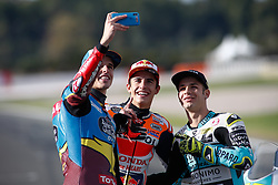 November 17, 2019, Cheste, VALENCIA, SPAIN: Alex Marquez, rider of EG 0,0 Marc VDS from Spain, Marc Marquez, rider of Repsol Honda Team from Spain, and Lorenzo Dalla Porta, raider of Leopard Racing from Italy, takes a selfie during the World Champion photo during the Valencia Grand Prix of MotoGP World Championship celebrated at Circuit Ricardo Tormo on November 16, 2019, in Cheste, Spain. (Credit Image: © AFP7 via ZUMA Wire)