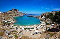 Grece, Dodecanese, Rhodes, Lindos, plage de Saint Paul ( St. Paulis bay )// Greece, Dodecanese archipelago, Rhodes island, Lindos, St. Paul beach