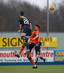 Falkirk's Ciaran McKenna and Dundee United's Osman Sow. Falkirk 1 v 1 Dundee United, Scottish Championship game played 23/2/2019 at The Falkirk Stadium.