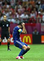 Fotball<br /> 08.06.2012<br /> EM 2012<br /> Polen v Hellas<br /> Foto: Gepa/Digitalsport<br /> NORWAY ONLY<br /> <br /> UEFA Europameisterschaft 2012 in Polen und der Ukraine, Laenderspiel, Gruppenphase, Eroeffnungsspiel, Polen vs Griechenland. <br /> <br /> Bild zeigt die Enttaeuschung von Giorgos Karagounis (GRE).